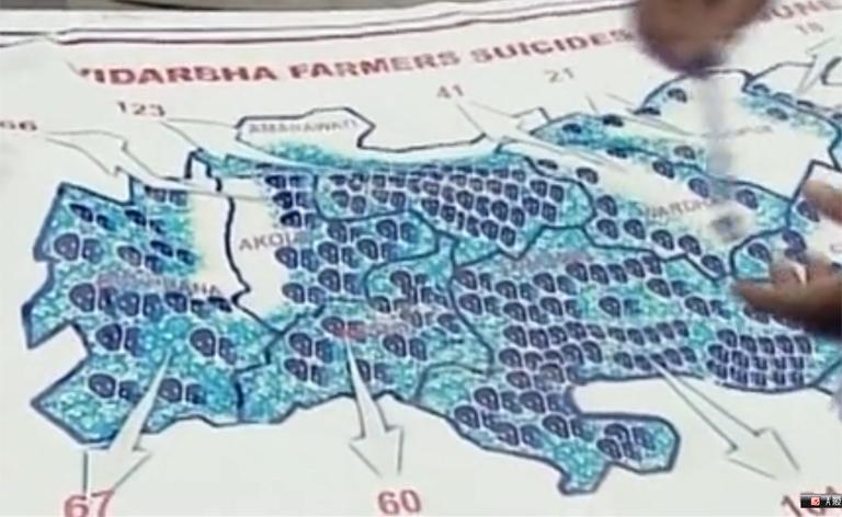 ビダルバ地区の自殺者地図。びっしり並んだどくろマークが自殺者の多さを物語る。